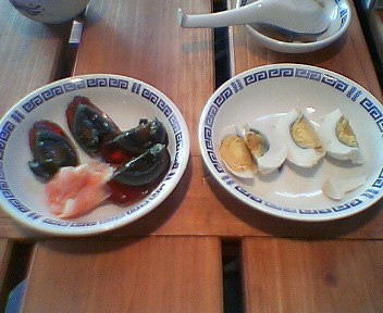 塩卵とピータン